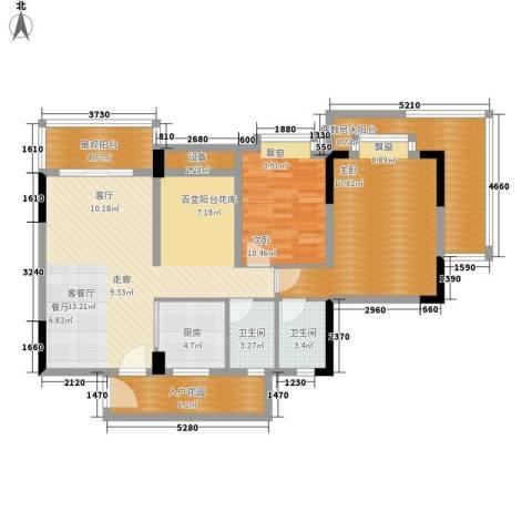 新都广场2室1厅2卫1厨102.00㎡户型图
