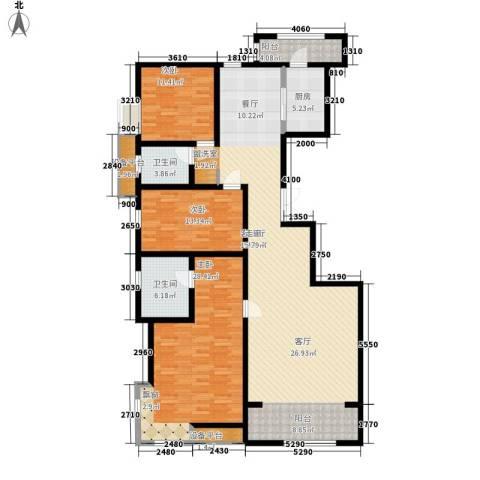华城领秀3室1厅2卫1厨187.00㎡户型图