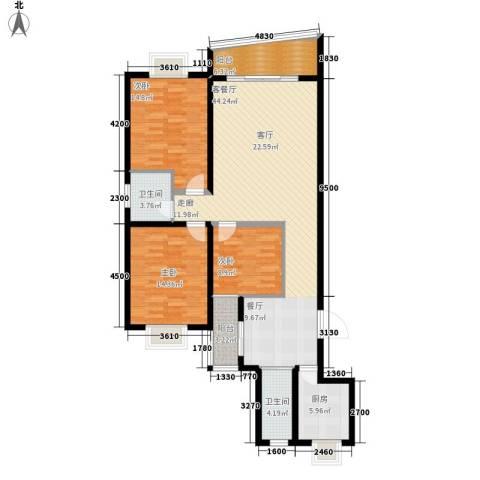景香苑3室1厅2卫1厨138.00㎡户型图