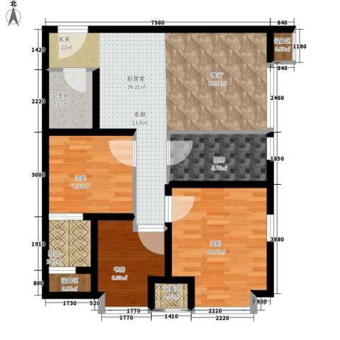 温莎公寓3室0厅1卫1厨94.00㎡户型图