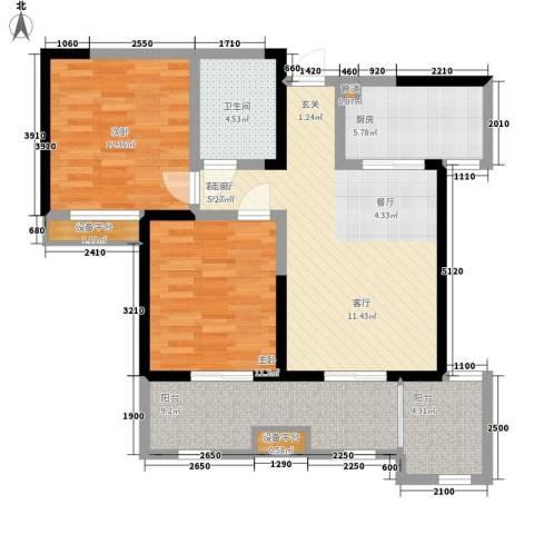 桃苑红杉郡2室1厅1卫1厨95.00㎡户型图