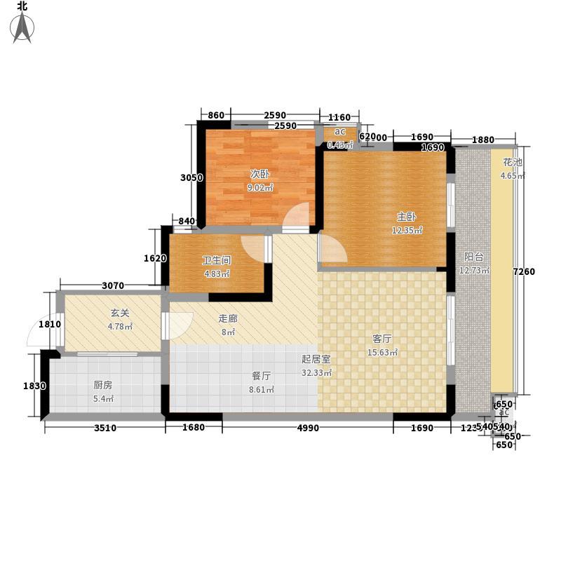 阳光100大湖第92.00㎡二期3号楼E4户型2室2厅