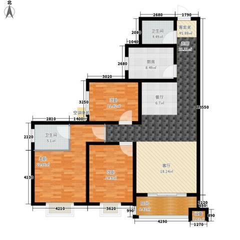 黄金嘉园3室1厅2卫1厨137.00㎡户型图