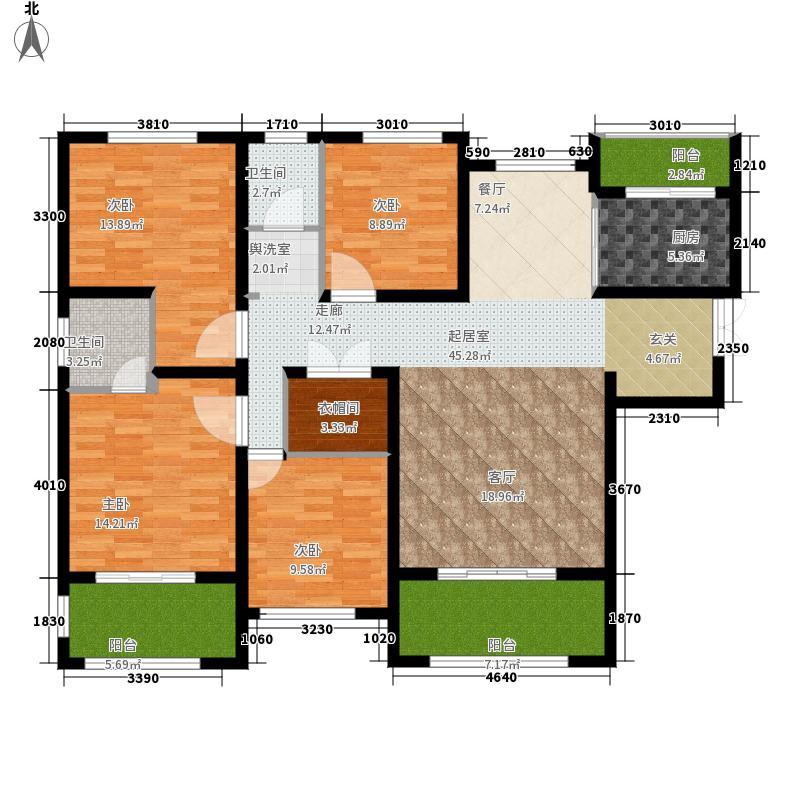 恒天国际城164.00㎡8号楼西单元西4室户型
