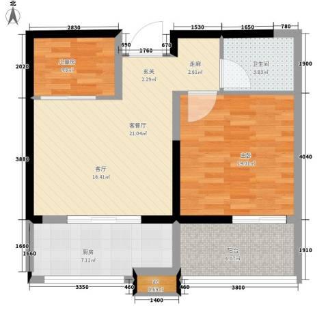 红星美凯城2室1厅1卫1厨66.37㎡户型图