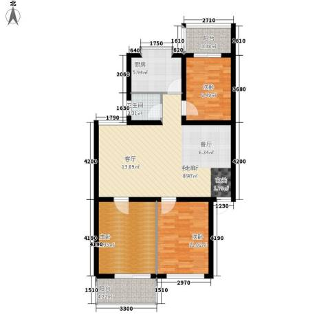 四方小区3室1厅1卫1厨94.00㎡户型图