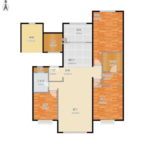 北京城建·世华龙樾3室1厅2卫1厨164.00㎡户型图
