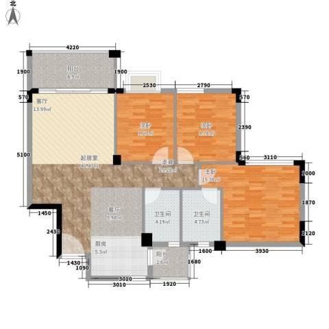 洛涛居3室0厅2卫0厨104.00㎡户型图