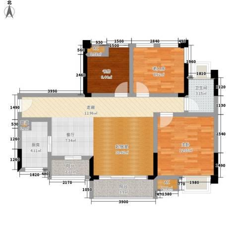 仁安龙城国际三期3室0厅1卫1厨79.00㎡户型图