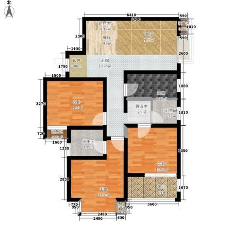 新旅城3室0厅2卫1厨117.00㎡户型图