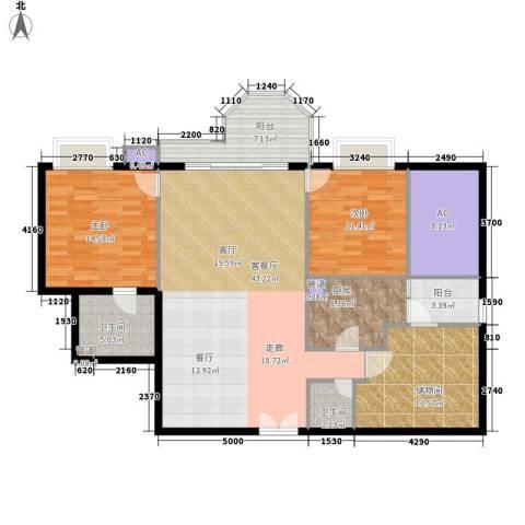 珠江广场2室1厅2卫1厨127.10㎡户型图