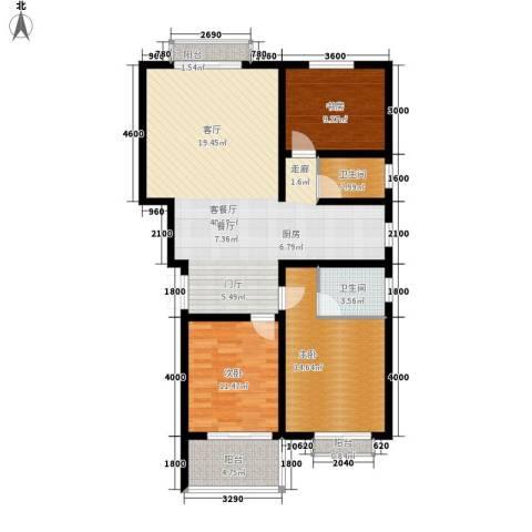 景香苑3室1厅2卫0厨129.00㎡户型图