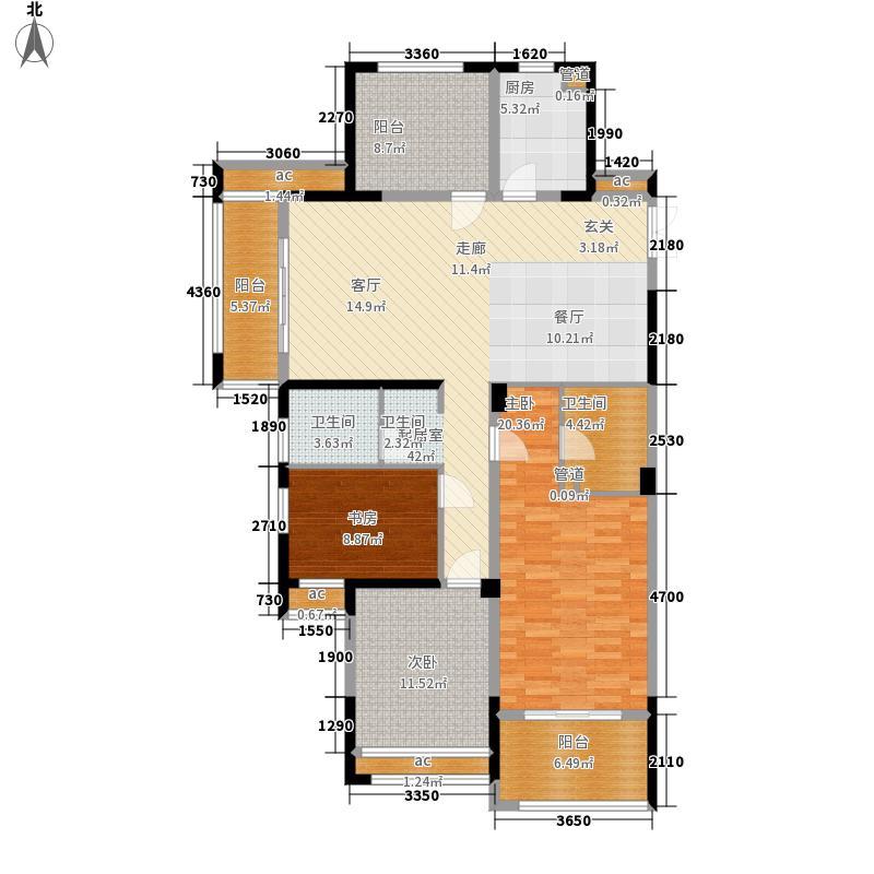 阳光龙庭141.00㎡H户型3室2厅