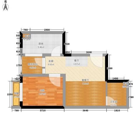 重庆国际家纺城绣色1室1厅1卫1厨38.80㎡户型图