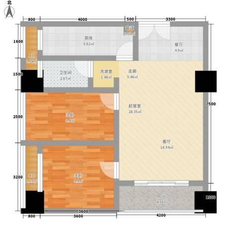 亚商国际2室0厅1卫1厨69.00㎡户型图