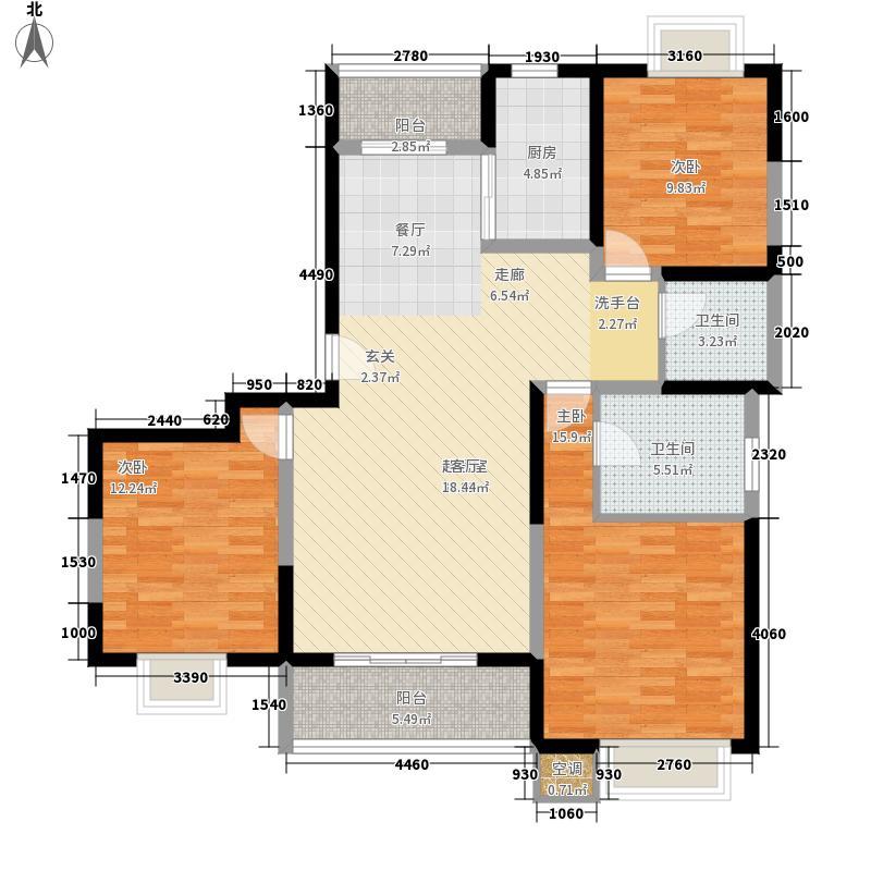 绿地世纪城116.89㎡A区7号楼D户面积11689m户型