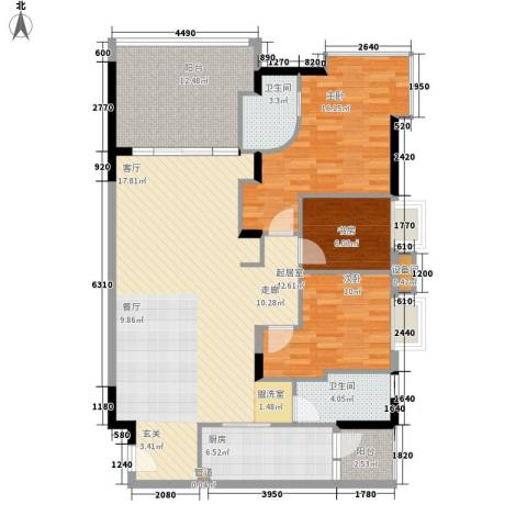 会展西岸3室0厅2卫1厨121.00㎡户型图