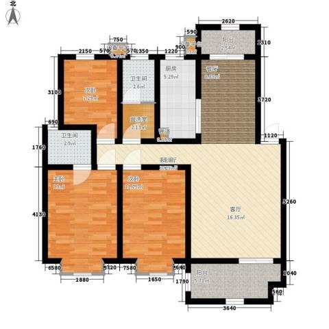 宏轩花苑3室1厅2卫1厨99.00㎡户型图