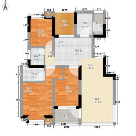 唐城宾馆家属院3室0厅2卫1厨60.00㎡户型图