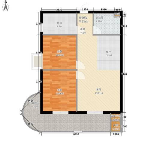 兴威新嘉园2室1厅1卫1厨112.00㎡户型图