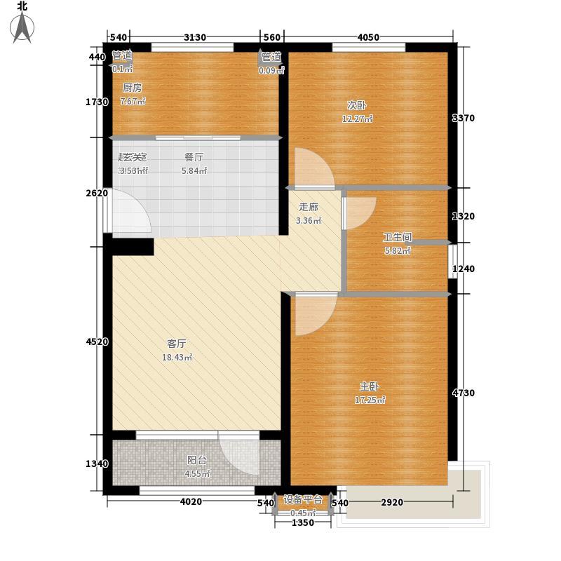 银盛泰星河城三期89.00㎡高层经典户型2室1厅