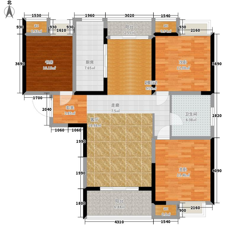 天安尚城119.63㎡二期C2户型3室2厅