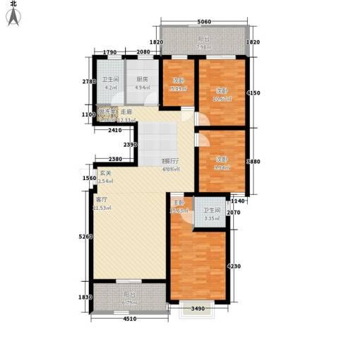 爱地林苑4室1厅2卫1厨160.00㎡户型图
