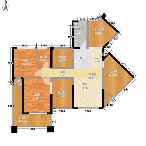 长城半岛城邦2室0厅1卫1厨118.66㎡户型图