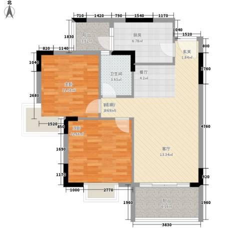 汇美体育花园2室1厅1卫1厨81.00㎡户型图