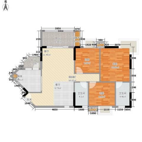 世纪绿洲3室1厅2卫1厨123.00㎡户型图