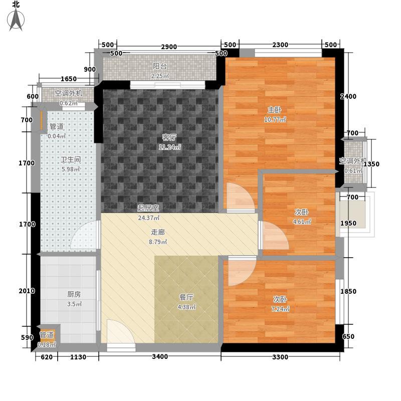 星城翠珑湾80.00㎡7栋02单位户型3室2厅