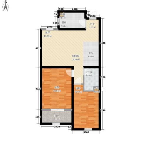 上东城2室1厅1卫1厨98.00㎡户型图