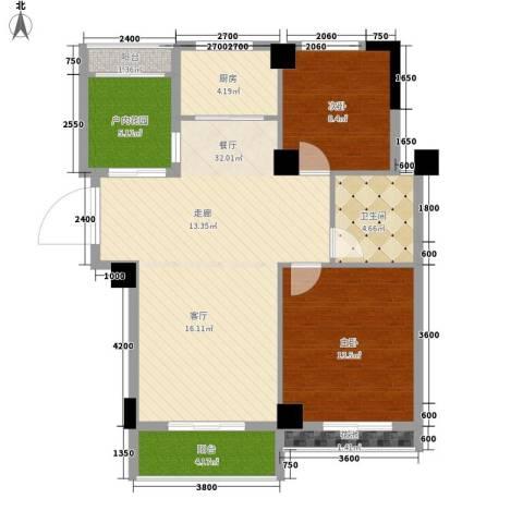 圆梦08庄园2室1厅1卫1厨87.00㎡户型图