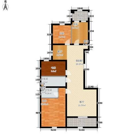 上东城3室1厅2卫1厨168.00㎡户型图
