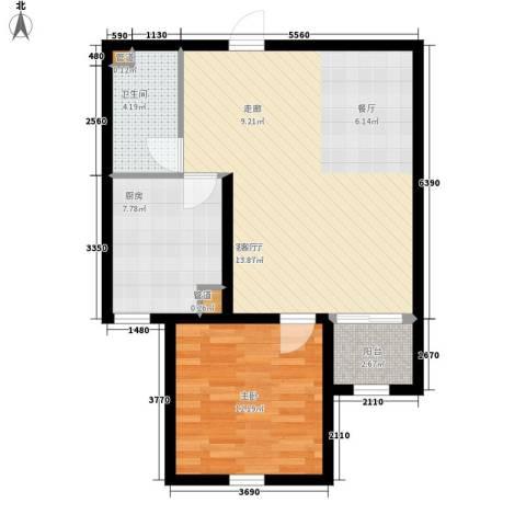 上东城1室1厅1卫1厨80.00㎡户型图