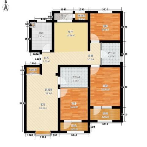 北辰新天地盛景湾3室0厅2卫1厨146.00㎡户型图