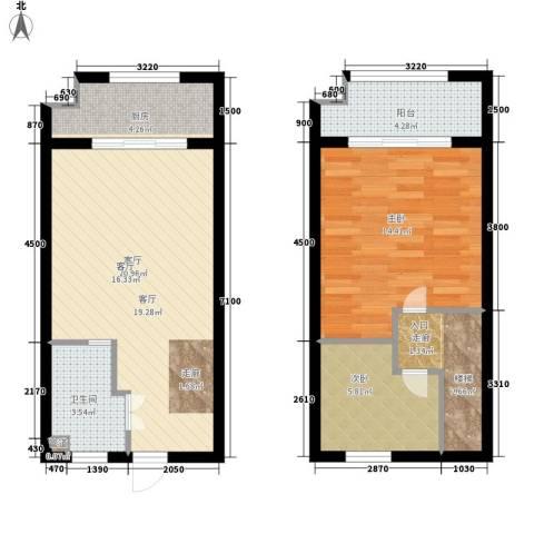 泾渭明珠2室1厅1卫1厨83.00㎡户型图