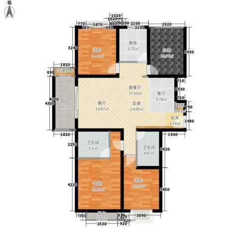 大华阳光曼哈顿3室1厅2卫1厨142.00㎡户型图
