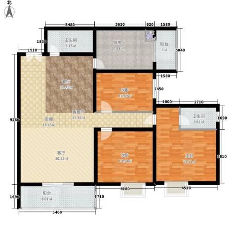 泾渭明珠3室1厅2卫1厨178.00㎡户型图