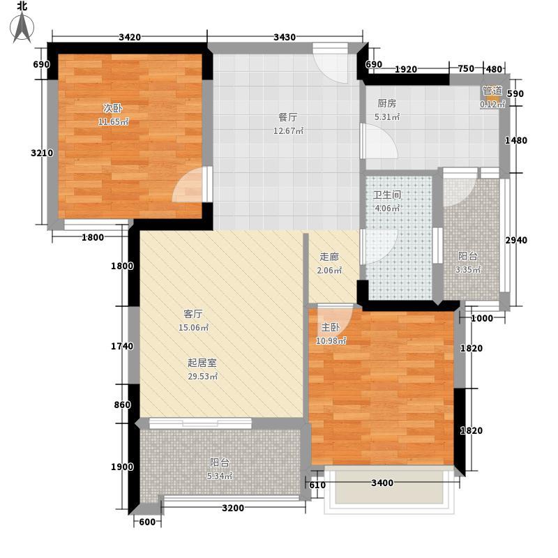 锦绣龙城93.33㎡七期千锦B-2面积9333m户型