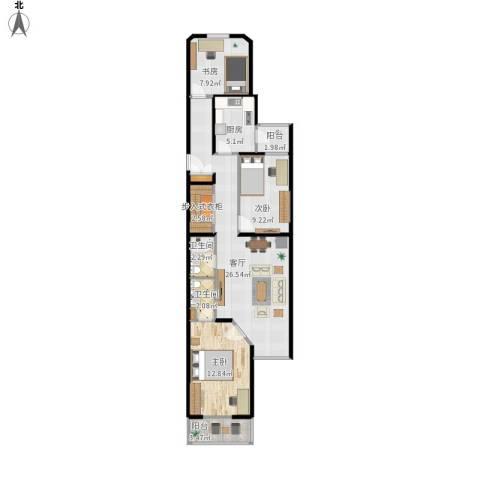 新村一里3室1厅2卫1厨96.00㎡户型图