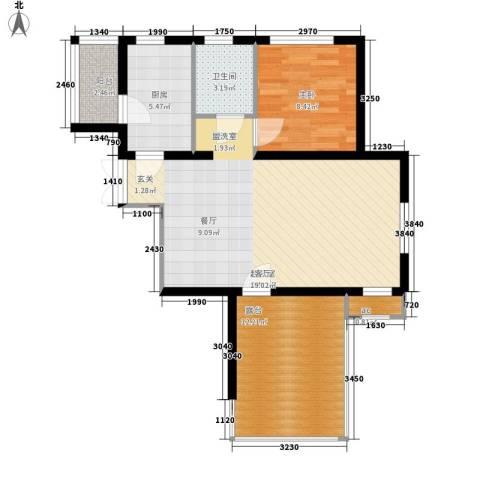 蓝海嘉苑1室0厅1卫1厨85.00㎡户型图