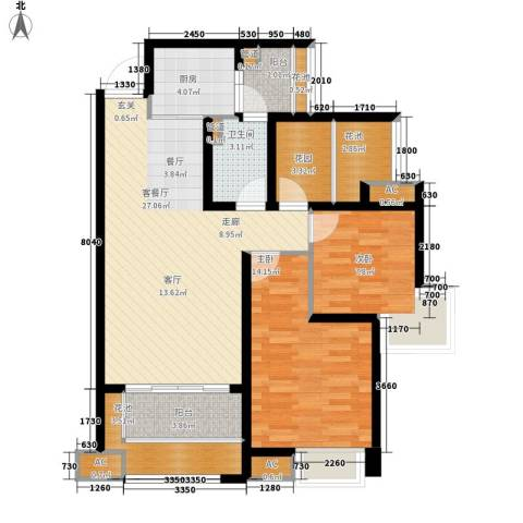 中海胥江府2室1厅1卫1厨88.00㎡户型图