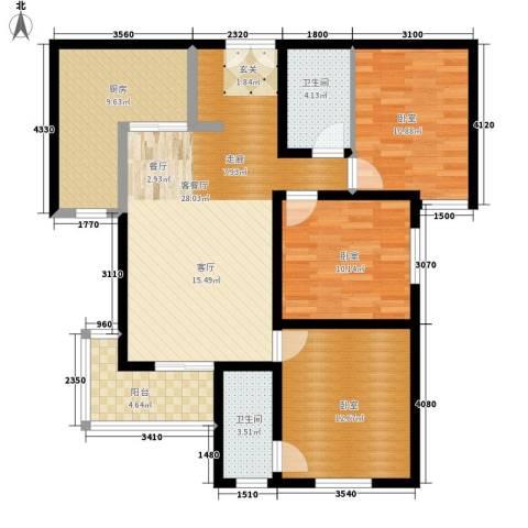 金源皇家园林1厅2卫1厨127.00㎡户型图