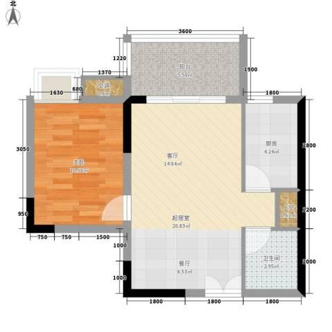 船舶云湖绿岛1室0厅1卫1厨52.18㎡户型图