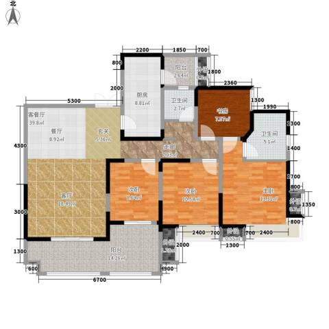 领馆国际城4室1厅2卫1厨136.00㎡户型图