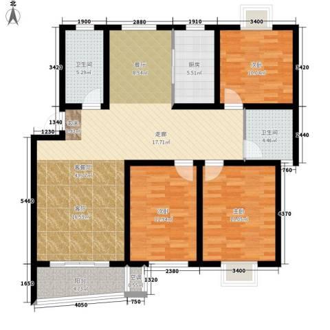 旭升花苑3室1厅2卫1厨142.00㎡户型图