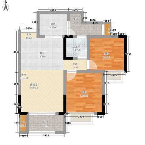 恒春凤凰城2室0厅1卫1厨80.00㎡户型图