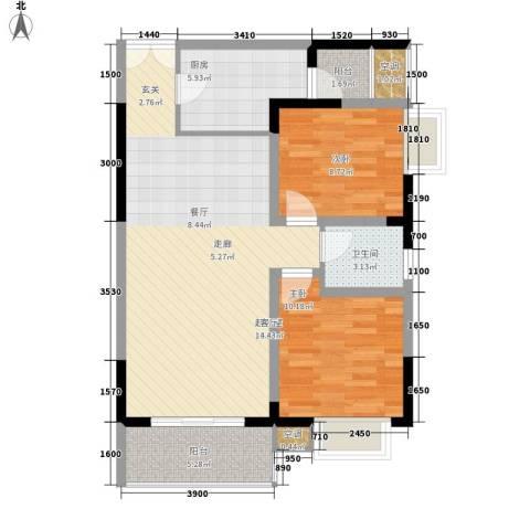 船舶云湖绿岛2室0厅1卫1厨76.98㎡户型图