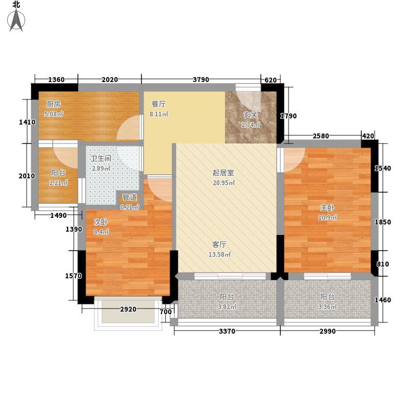 碧桂园生态城86.30㎡J166-1户型2室2厅